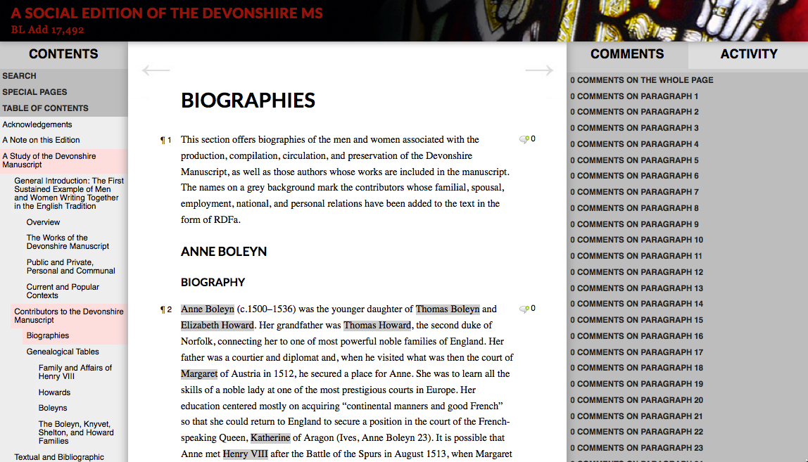 Figure 3: The biography of Anne Boleyn, showing which stretches of text are augmented with RDFa